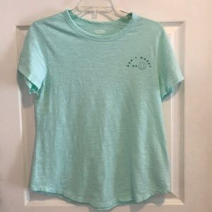 "Old Navy ""Don't Worry Be 😀""  Mint green tee"